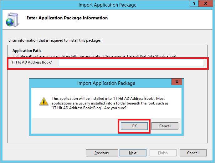 On the Enter Application Package Information step leave the Application Path blank!