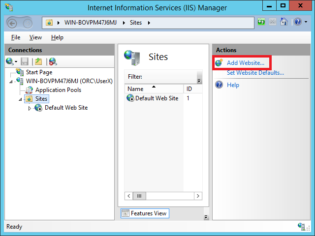 In IIS Manager create ASP.NET website that will be running your Active Directory Address Book CardDAV Server. Select Sites node and than Add Website link in Actions panel.