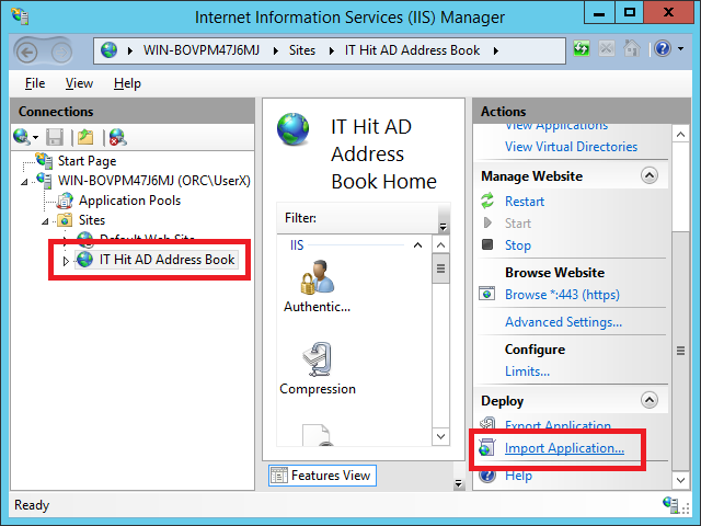 Select your AD Address Book CardDAV Server website and select Import Application action
