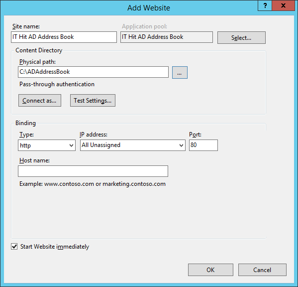In Add Website dialog select ASP.NET 4.0 application pool.