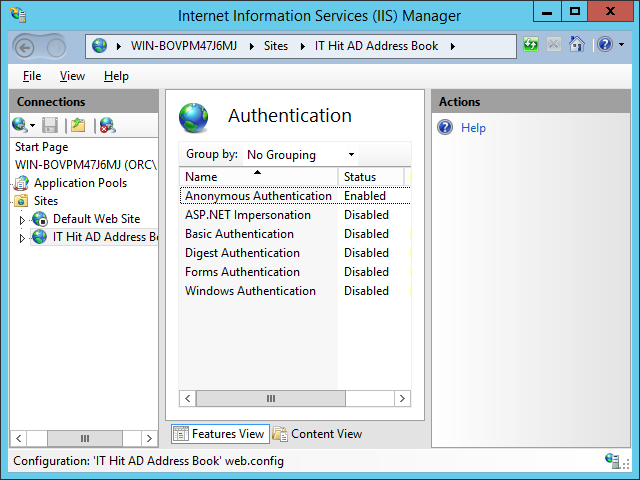 The server will validate provided credentials via AD. IIS Windows Authentication options must be set to Anonymous.