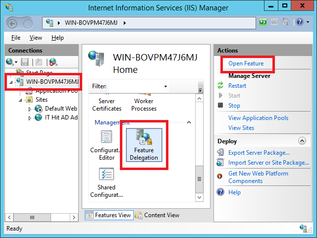 On the server node in IIS go to the Feature Delegation
