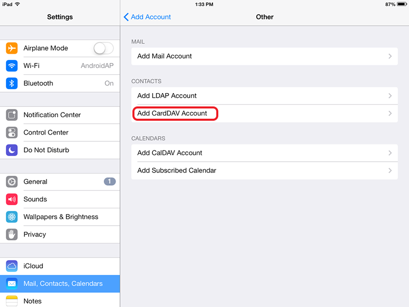 Select Add CardDAV account