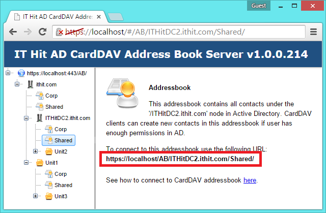 Select the address book in Active Directory three. Find the CardDAV URL and send it to team members.