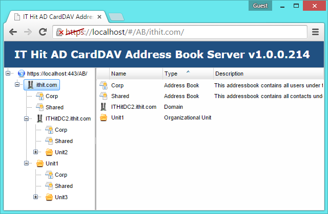 Admin UI shows the domains tree, organizational units and address books.