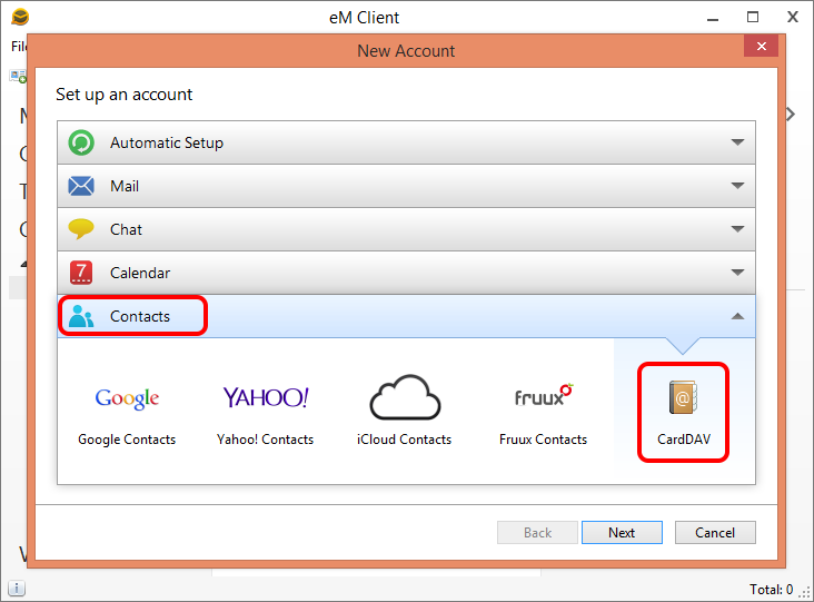 in New Account dialog in eM Client select Contacts -> CardDAV.