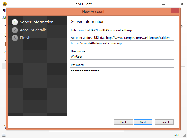 Specify CardDAV address book URL in the Account address URL field. In the User name and Password fields provide your windows domain credentials.